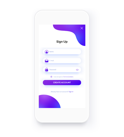 Sign up form. Registration screen. Log in page. Mobile app UI kit. Trendy purple colors. Mockup of white smartphone.
