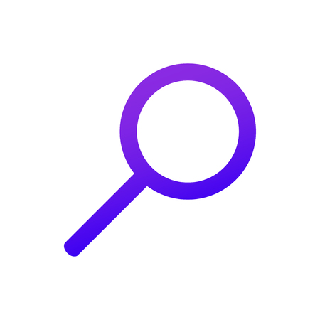 The web icon of a Magnifier. Search sign. Purple gradient. Professional web design. Vector illustration. EPS10. Stok Fotoğraf - 122519436