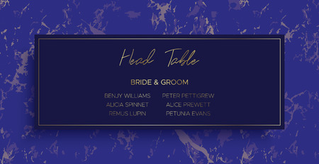 Head Table Bride and groom wedding template card of geometric design. Blue marble and gold geometric shape. Dimensions 9x4,5 inch. With 0,25 bleed. Иллюстрация