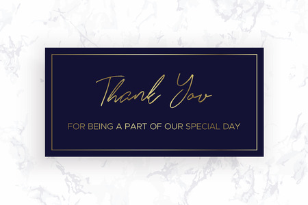 Design of Thank you card template. Marble texture background and gold text. Dimensions 6x4 inch. Vector.