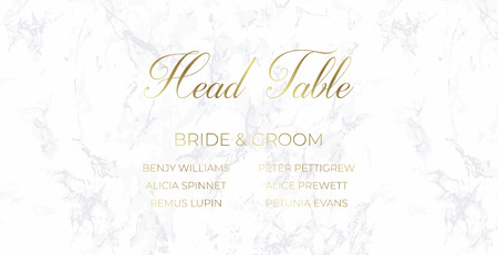Head Table Bride and groom wedding template card design. Gray marble and gold text. Dimensions 9x4,5 inch. With 0,25 bleed. Elegant and noble style. Minimalism.