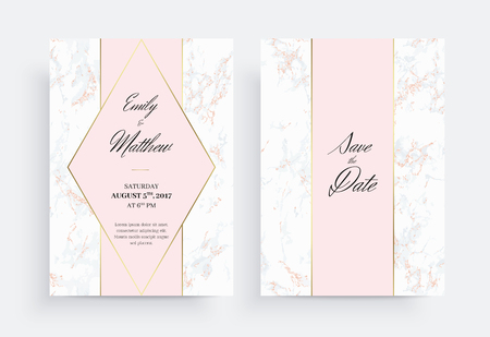 Invitation card template of geometric design. Gold and marble. Two side. Invitation to a wedding party in white and pink colors. Dimensions 5x7 inch. Vector. Seamless pattern included.