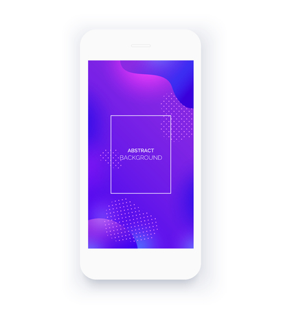 Abstract purple background for smartphone. Mobile interface wallpaper design. White phone, mobile mockup. Mobile front view display template.
