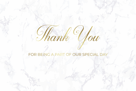 Thank you card. Wedding design template. Gray marble. Gray marble and gold text. Dimensions 9x4,5 inch. With 0,25 bleed. Elegant and noble style. Minimalism.