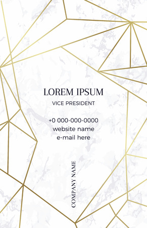 Marble business card with a geometric pattern. Gold polygonal texture. Corporate identity template in trendy marble with geometric shapes for modern design.