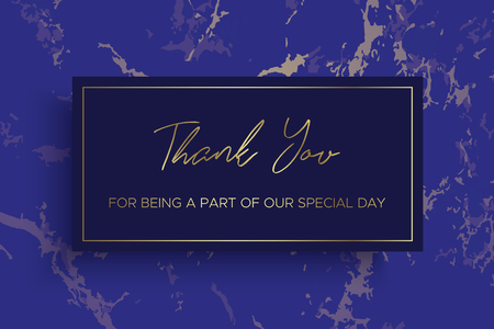 Design of Thank you card template. Ultramarine blue Marble texture background and gold text. Dimensions 6x4 inch. Vector.