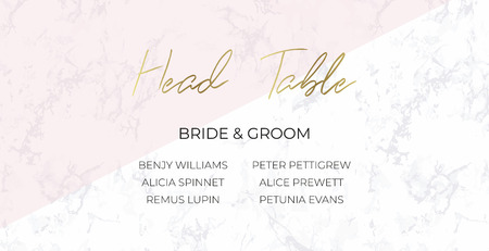 Head Table Bride and groom wedding template card design. Gray marble, pink triangle and gold text. Dimensions 9x4,5 inch. Elegant and noble style. Minimalism.