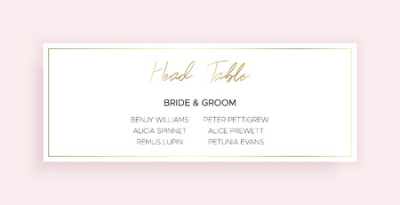 Head Table Bride and groom wedding template card of geometric design. Pink color and gold geometric shape. Dimensions 9x4,5 inch. Stylish and minimalistic.