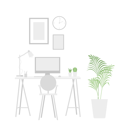 Workplace background. Flat simple style. Home or office interior in the latest trends illustration. Blank in neutral colors for any coloring. For design of the website, brochure, posters. Vector.