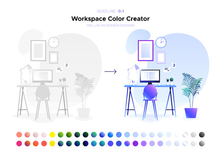 Workspace Color Creator. Flat simple style. Home or office interior in the latest trends illustration. Blank in neutral colors for any coloring. For design of the website, brochure, posters. Vector. Иллюстрация
