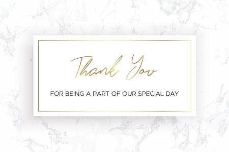 Design of Thank you card template. White Marble texture background and gold text. Dimensions 6x4 inch. Vector.