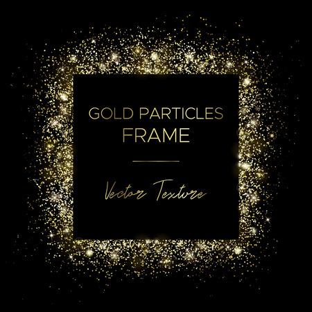 Cuadrado dorado. Marco de partículas de oro y texto en el centro. Utilice para publicidad, banner de venta, postal o portada. Caja de polvo dorado y efectos de luz. Brillo de lujo chispas brillantes y brillantes. Ilustración de vector