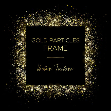 Golden square. Frame of gold particles and text in the center. Use for advertising, sale banner, postcard or cover. Box of golden powder and light effects. Luxury glitter sparkling and glowing sparks. Vetores