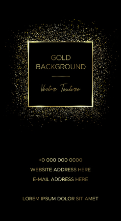 Card template with square frame of gold particles and text in the center and down. Suitable for banner, flyer, brochure, invitation or business card, for advertising, postcard or cover.