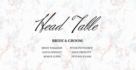 Head Table Bride and groom wedding template card design. Gray and pink marble background. Size 9x4,5 inch. Elegant and noble style. Minimalism. With 0,25 bleed. Seamless pattern included in palette.