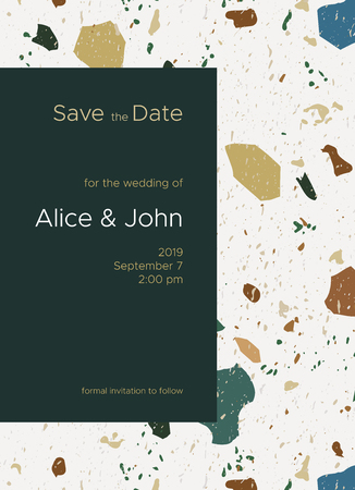 Save the date card template decorated classic Italian Terrazzo marble texture. Formal invitation to follow. Classic elegant style. Size 5x7 inch. Seamless terrazzo texture included in the palette.