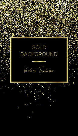 Card template with square frame of gold particles and text in the center and blank down. Suitable for banner, flyer, brochure, invitation or business card, for advertising, postcard. US 2x3.5 inch. Vettoriali