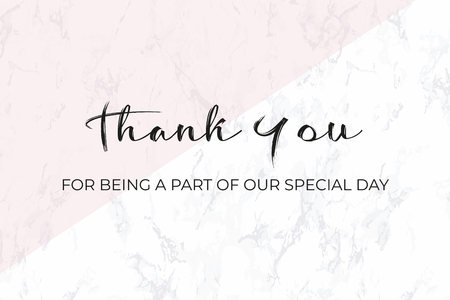 Thank you card. Wedding design template. White marble and black text. Dimensions 9x4,5 inch. With 0,25 bleed. Elegant and noble style. Minimalism. Seamless marble pattern included in palette.
