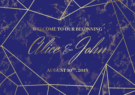 Wedding Welcome Sign Poster template. Geometric design. Golden lines on the blue marble background. Dimensions horizontal A3 format.