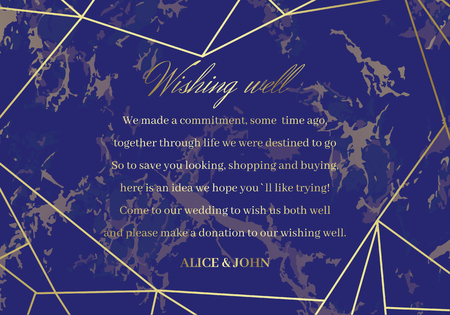 Wedding Well Wishes Card template. Geometric design. Golden lines on the blue marble background. Advice for the Bride and Groom. Dimensions 5x3,5 inch.