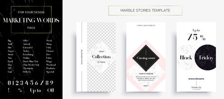 Set of Marble Stories template. Kit of three popular banners. New collection, sale and coming soon. As well as a set of popular marketing words and all numbers for easy text change in the templates. Иллюстрация