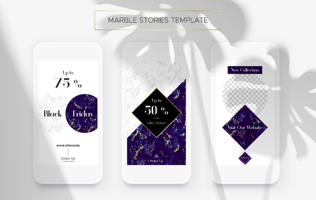 Set of Marble Stories template. Kit of three popular banners. New collection, sale and Black Friday. Luxury design with white and ultramarine marble f as gold. Super ultra fashionable design.
