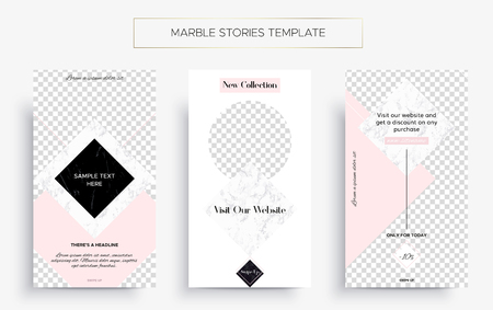 Set of Marble Stories template. Kit of three popular banners. New collection, sale and new post. Luxury design with pink, black and white marble. Super ultra fashionable design. Story layout.