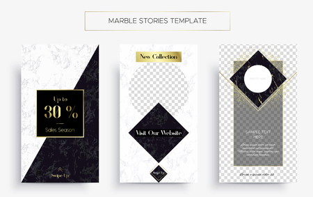 Set of Marble Stories template. Kit of three popular banners. New collection, sale and Black Friday. Luxury design with white and Black marble with gold. Super ultra fashionable design.