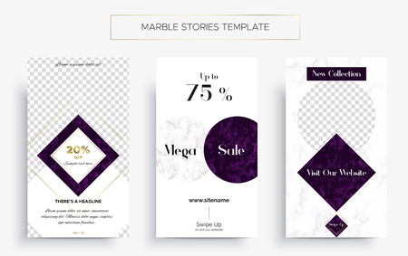 Set of Marble Stories template. Kit of three popular banners. New collection, sale and Black Friday. Luxury design with white and purple marble f as gold. Super ultra fashionable design.