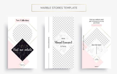 Set of Marble Stories template. Kit of three popular banners. New collection, sale and new moodboard. Luxury design with pink, black and white marble. Super ultra fashionable design. Story layout. Иллюстрация