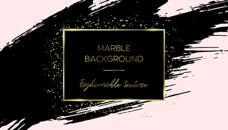 Card template design. Black brush stroke and gold dust. Creative abstract background with gold frame. Ink stain. Suitable for banner, flyer, brochure, invitation or business card. Иллюстрация
