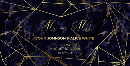 Mr. and Mrs. signs. Wedding template card of geometric design. Purple marble background and golden geometric pattern. Dimensions 9x4,5 inch. With 0,25 bleed. Иллюстрация
