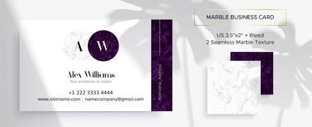 Marble business card with 2 seamless patterns. Corporate identity design template with the acronym of the letters A and W. Elegant branding. Size 3.5x2 inch. White and purple colors. Иллюстрация
