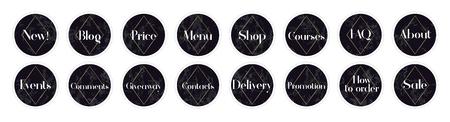 La surbrillance couvre les arrière-plans. Ensemble de modèles de conception de marbre noir. Conception géométrique. Icônes avec des citations pour les blogueurs et les comptes commerciaux. Vecteurs