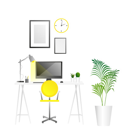Workplace background. Workspace illustration. Flat simple style. Home or office interior in the latest trends illustration. For design of the website, brochure, posters. Vector.