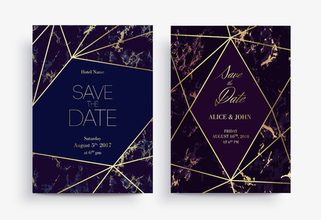 Two Save the Date card template. Geometric design. Set of Invitation to a wedding party. Blue and purple marble background and golden geometric pattern. Dimensions 5x7 inch.