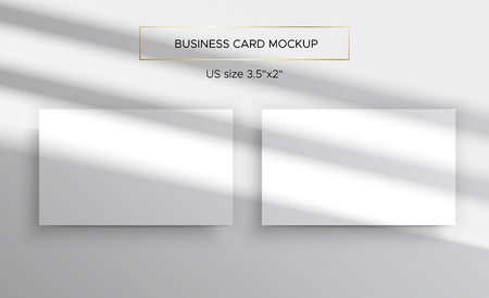 Business card Mockups. Overlay on top of the shadows of natural lighting. Photorealistic vector illustration. Scene shadows from the window. Business cards 3.5x2 inch. Minimalistic and clean layout. Иллюстрация