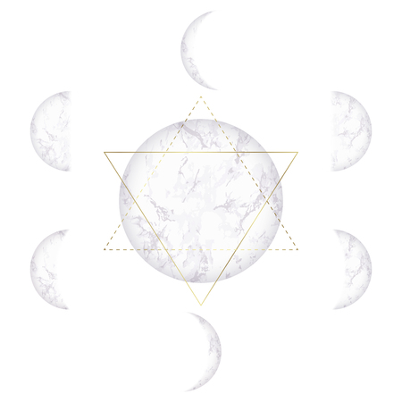 Moon phases of marble texture and Star of David on white background. Vector illustration of cycle from new to full moon.