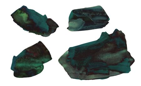 Set of deep green hand drawn watercolor stains. Rich emerald color similar to malachite. Marble stone texture. It can be used for wrap, wallpaper, website, pattern, decor, print or textile