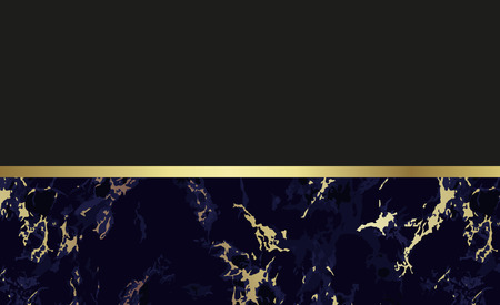 Marble background. Chic design card in black and gold colors. Blank layout and empty background for text message. Use for cover invitation cards, wedding, thanks or business card. Vector. Ilustrace