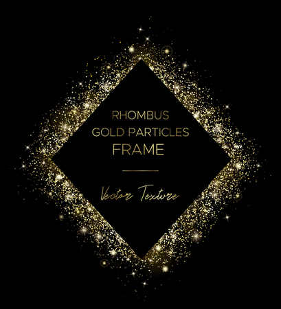 Golden rhombus. Frame of gold particles and text in the center. Use for advertising, sale banner, postcard or cover. Box of golden powder and light effects. Luxury glitter sparkling and glowing sparks