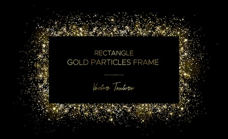 Golden rectangle. Frame of gold particles and text in the center. Use for advertising, sale banner, postcard or cards. Box of golden powder and light effects. Luxury glitter sparkling and glowing sparks