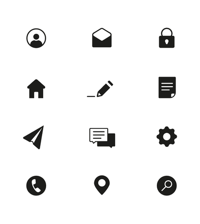 Black and white Web Icons pack. Base set of vector icons for site.