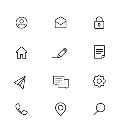 The basic Set of icons on the site is a thin line. Black and white Web Icons pack.