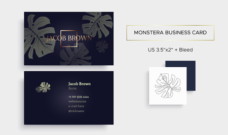 Template of double sided business card with Monstera in graphite color and gold. Monstera leaves. The cover and reverse side. Strict style. Suitable for use for example floral company.