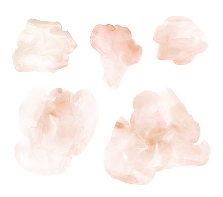 Set of hand drawn watercolor stains and blots. Beige and nude pastel colors. Light and soft colors. It can be used for wrap, wallpaper, pattern, decor, print or textile 写真素材