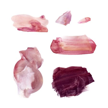 Set of hand drawn watercolor stains and blots. Red, blood, burgundy, vinous and marsala colors. Juicy and bright colors. It can be used for wrap, wallpaper, website, pattern, decor, print. 写真素材
