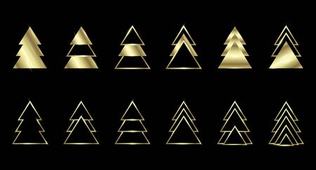 A set of gold geometric Christmas trees made of triangles. Contour gold. For Xmas and Happy new year. Vector illustration on black background. Glowing and shimmering gold.  イラスト・ベクター素材