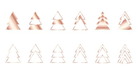 A set of rose gold geometric Christmas trees made of triangles. Contour gold. For Xmas and Happy new year. Vector illustration on white background. Glowing and shimmering gold.