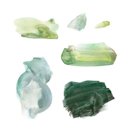 Set of fresh summer green hand drawn watercolor stains. Delicate salad greens. Soft spring colors and the lush color of the grass after the rain. Delicate elegant texture.
